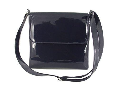 Loni Womens Cool Faux Patent Leather Cross-Body Shoulder Bag Handbag Medium Size (Blue Patent Leather Bag)