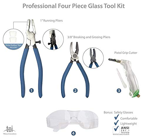 Professional Four Piece Stained Glass Tool Kit with Running Pliers, Breaking and Grozing Pliers and Pistol Grip Cutter with FREE BONUS Safety Glasses. Perfect for Stained Glass, Mosaics and Fusing