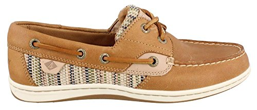 Sperry Top-Sider Womens Koifish Raffia Stripe Boat Shoe,Sahara/Green,US 5 M