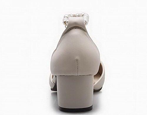 Toe Heels WeenFashion Women's Pu Kitten Sandals Solid Beige Closed IUqpwvU