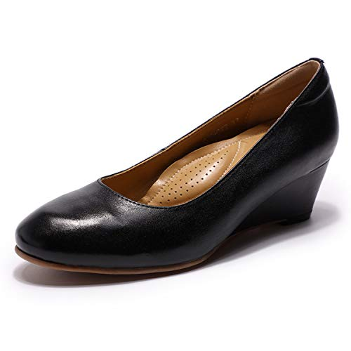 Mona flying Womens Leather Pumps Dress Shoes Med Heel Rounded Toe High Heels for Women Office Wedding