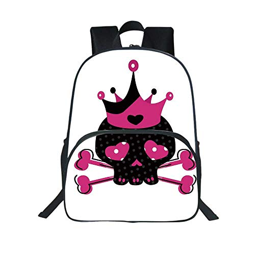 Skull Multifunction School Bag,Cute Royal Skull with Crown and Crossbones Day of the Dead Queen Heart Eyes for School Travel,One_Size