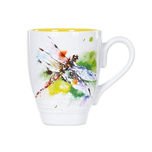 Dean Crouser Dragonfly Watercolor Yellow On White 16 Ounce Glossy Stoneware Mug With Handle