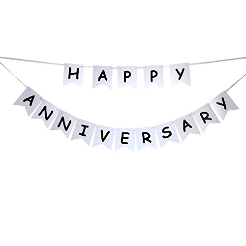 Happy Anniversary Banner for Anniversary Party Décor Gold Banner Pertlife by Pertlife