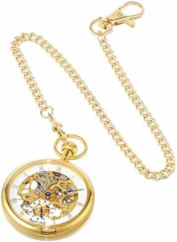 Regent Hills Vintage Gold Plated Open Face Mechanical Skeleton Pocket Watch with Chain 6445GP-G2(BL)