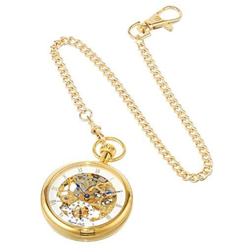 - Regent Hills Vintage Gold Plated Open Face Mechanical Skeleton Pocket Watch with Chain 6445GP-G2(BL)