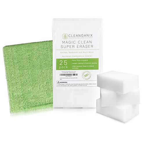 - (25 Pack) Magic Clean Super Eraser - Extra Large, Thick, and Longer Lasting Melamine Cleaning Sponge in Bulk - Multi Surface Magical Foam Scrubber Pads - Baseboard, Bathroom, Oven, Wall Cleaner Tool