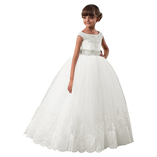 Cdress Beaded First Communion Birthday Dresses Lace Bowknot Flower Girl's Party Gowns US -