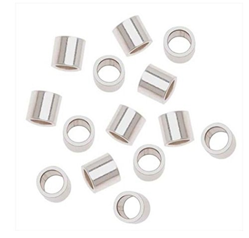 100pcs Sterling Silver Crimp Beads 3mm Smooth Small Tubes Spacer (Hole ~ 2mm) for Jewelry Craft Making Findings SS241