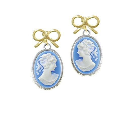 Cameo Gold Tone Earrings - Silvertone Oval - Blue Cameo - Goldtone Layla Bow Clip on Earrings