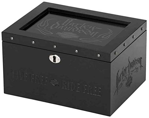 Harley Davidson Jewellery - Harley-Davidson Live Free - Ride Free Wooden Jewelry Box, Velvet-Lined HDX-99114