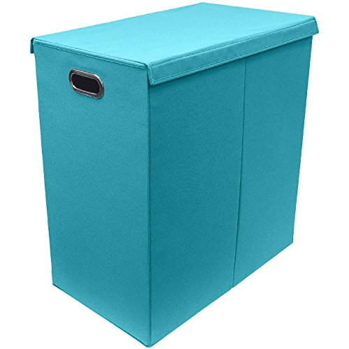 Sorbus Laundry Hamper Sorter with Lid Closure – Foldable Hamper, Detachable Lid, Portable Built-In Handles for Easy Transport – Double (Aqua)