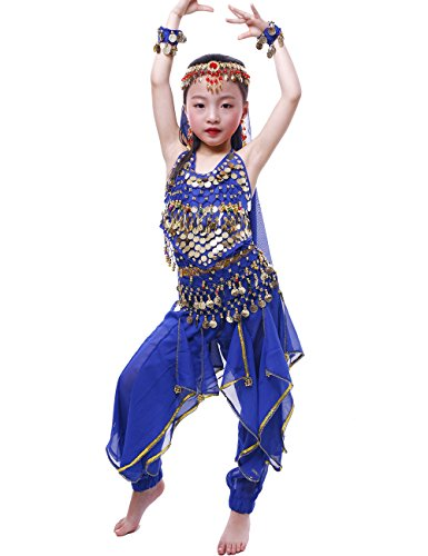 Astage Girls Oriental Belly Dance Sets Costumes All accessories Dark Blue M(Fits 5-7 Years) ()