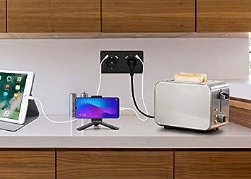 Doppelsteckdose mit USB Schuko Unterputz Steckdose System 55 Schutzkontakt-Steckdose Passt in Standard 2-fach Unterputzdose Steckdose Grau Wandsteckdose f/ür Smartphone MP3 Aufladung