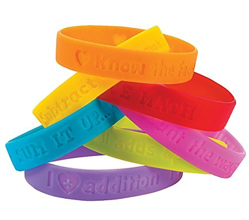 I Love Math Sayings Bracelets (24 Pieces - 6 Designs) Rubber