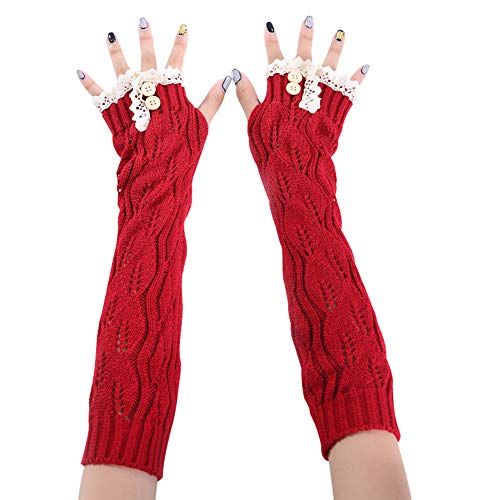 dds5391 Women Solid Color Lace Buttons Fingerless Long Gloves Arm Warmer Knitted Mittens Gloves Special Occasion Gloves Red