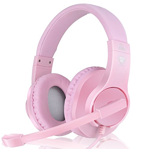 419a3q5CUhL - Headset-Gaming-for-PS4-Xbox-One-Controller-Wired-Noise-Isolation-Over-Ear-Headphones-with-Mic-Stereo-Gamer-Headphones-35mm-Earphone-for-Laptop-Mac-PC-Pink