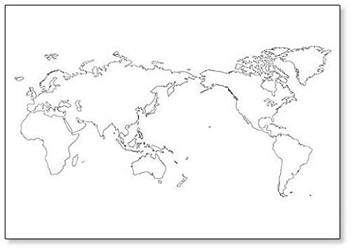 World Map Outline Contour Silhouette Fridge Magnet (Outline Map Of Oceania Australia And New Zealand)