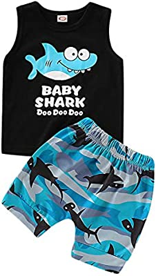 Camouflage Pants Outfits WISWELL Baby Boys Shark Doo Doo Doo Short Set Infant Boy Sleeveless Tops