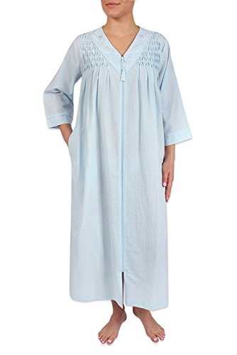 Heavenly Bodies Seersucker Robe, Long Coverup With Soft Lightweight Fabric For Spring and Easy On Full Zipper Front,Light Blue,2X Plus - Summer Seersucker
