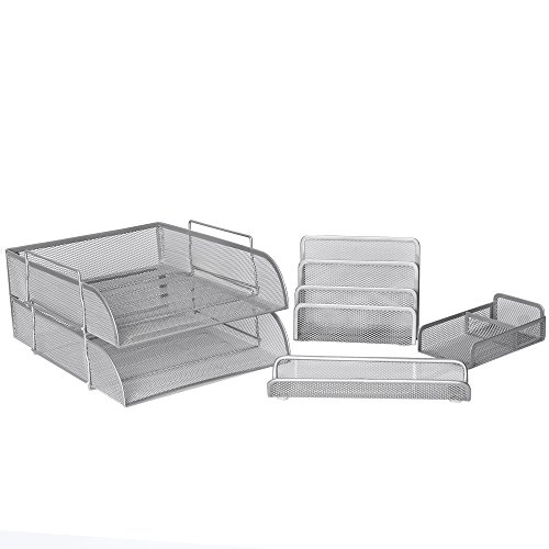 Two Monitors 1 Piece (5 Piece Wire Mesh Desk Organizer Set – Silver Office Desk Organizers for Women & Men)