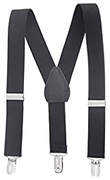 Buyless Fashion Kids And Baby Adjustable Elastic Solid Color 1 inch Suspenders - Black - Size 26