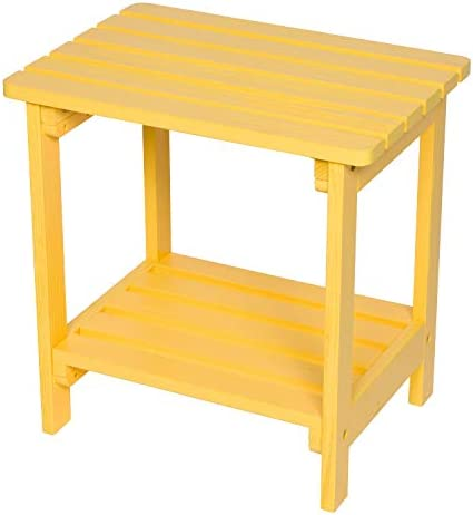 Shine Company 4114LY Indoor Outdoor Rectangular Hydro-TEX Finish, Lemon Yellow Side Table