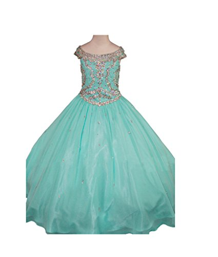 GreenBloom Girls' Organza A-Line Glitz Rhinestone Transparent Straps Pageant Ball Gown Dress Mint 14