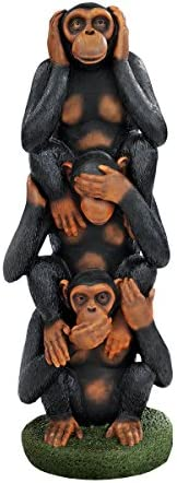 Design Toscano Hear No Evil See No Evil Speak No Evil Monkeys Grand Scale Statue