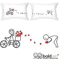 BoldLoft All My Love for You Parejas Fundas de almohada- Regalos para novios, Regalos para maridos, Regalos para parejas a juego para aniversario de algodón, Día de San Valentín, Despedida de soltera, Bodas, Citas, Regalos para él y para él