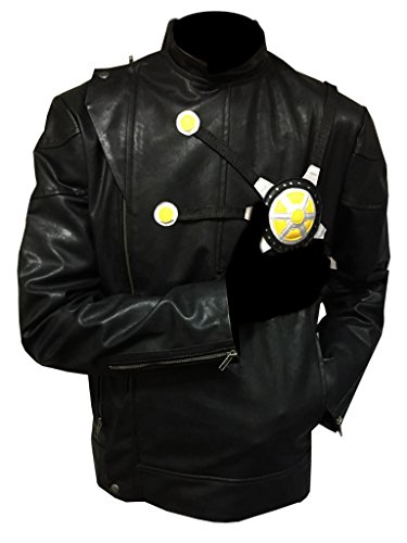 Firestorm Costume For Sale (ABz Leathers The Flash Fire Storm Costume Black Cosplay Synthetic Leather Jacket (L, Black))