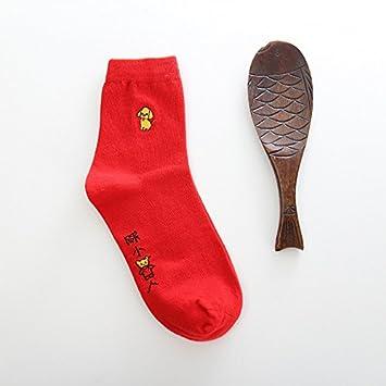 lINA Calcetines para Hombres Y Mujeres, Calcetines Rojos, Calcetines para Los Amantes, El Otoño Y El Invierno Algodón: Amazon.es: Deportes y aire libre
