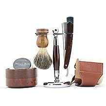 Men Straight ShavingRazor Badger Hair Brush Stand Holder Leather Strop Soap Bowl