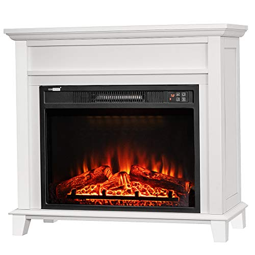VIVOHOME 32 Inch Wide Electric Fireplace with Wood Frame