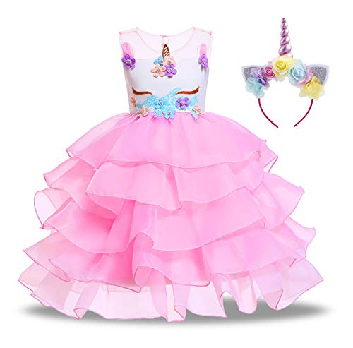 KABETY Baby Girl Unicorn Costume Pageant Flower Princess Party Dress with Headband (100cm, Ruffles Pink) -