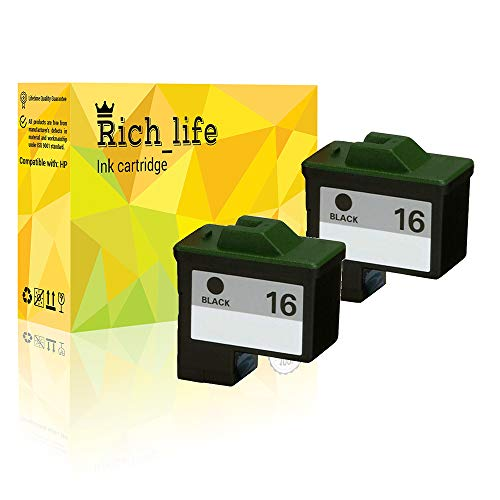 Rich_life Remanufactured Ink Cartridge Replacement for Lexmark 16 Black Inkjet Cartridges Compatible Lexmark Printer X Z Series i3 Compaq IJ650 Compaq IJ652 2 Pack (Black)