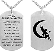 to My Granddaughter Dog Tag Pendant Necklace Gift Jewelry Keychain