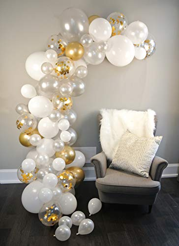 Balloon Arch & Garland Kit - 80 Pearl White, Chrome Gold Confetti & Silver - Glue Dots & Decorating Strip - Holiday, Wedding, Baby Shower, Graduation, Anniversary Organic Party Decorations - Junibel
