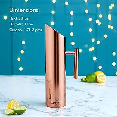 Jarra de agua, acero inoxidable, cobre, 1.7 Litre: Amazon.es: Hogar
