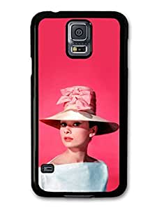 Audrey Hepburn Wearing Pink Hat case for Samsung Galaxy S5 A5437 by runtopwell