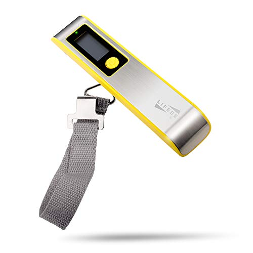 Abs Warning Light - Luggage Scale Travel Digital, Suitcase Scale, ABS and Stainless Steel, Warning Lights,110 Pounds,Gift for Travelers,Yellow