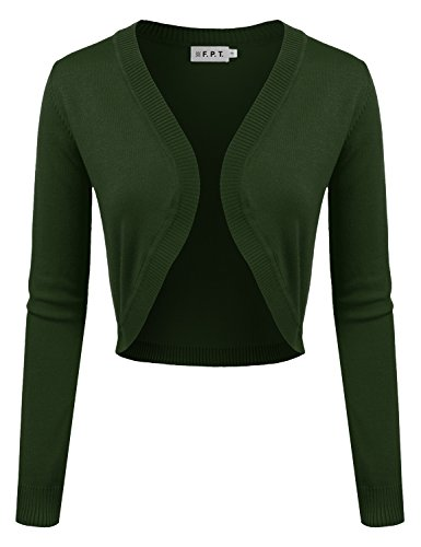 Angora Cardigan (Fifth Parallel Threads FPT Womens Long Sleeve Knit Open Bolero Cardigan Olive Medium)
