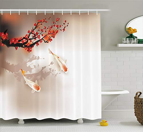Lunarable Koi Fish Shower Curtain by, Sakura Blossom Petals with Creature Lovely Nature Orient, Fabric Bathroom Decor Set with Hooks, 84 Inches Extra Long, Peach Black Red