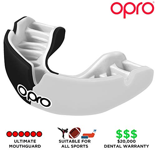 OPRO Power-Fit Mouthguard | Adult Handmade Gum Shield + Strap for Football, Lacrosse, Hockey and Other Contact Sports - 18 Month Dental Warranty (Ages 10+) (Canada) by OPRO (Image #3)