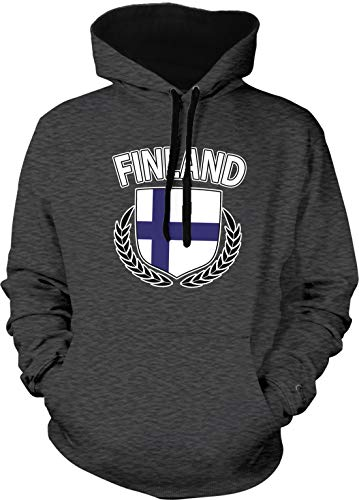 Amdesco Men's Finland Flag Shield Finnish Pride Two Tone Hoodie, Charcoal/Black 3XL (Arms Finnish Coat Of)