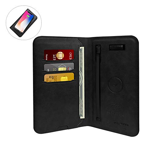 - Portable Charger Wallet,Smart qi Wireless Power Bank 6800mAh Leather Wallet Pouch Built-in USB Cable Type-C/iOS Adapter for Android iOS (Black)
