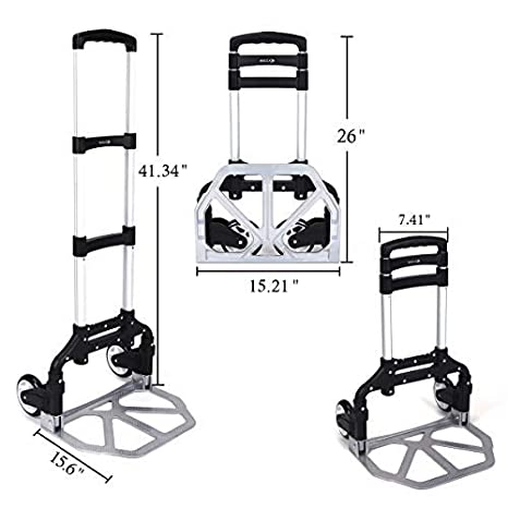 2 Wheel Folding Hand Truck Portable Magna 165 lb Capacity Heavy Duty Aluminum Carts Foldable Height Adjustable Utility Trucks and Dolly