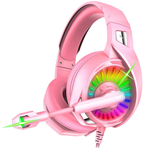 Nivava Gaming Headset for PS4, Xbox One, PC Headphones with Microphone LED Light Mic for Nintendo Switch Playstation Computer, K7 (Pink) (Pink Headphones With Microphone)