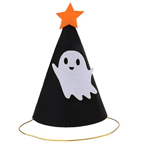 Jili Online Funny Halloween Party Felt Cone Hat Fancy Dress Ghost/Pumpkin/Mustache/Spider - Ghost, One Size ()