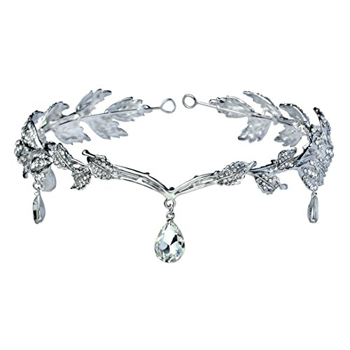 BABEYOND Elegant Rhinestone Leaf Wedding Bridal Bridesmaid Forehead Band Dangle Rhinestone Bridal Tiara Crown with Gift Box , Silver, One size]()
